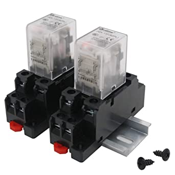 Socket Base 2 Pcs DC 12V 5A Coil 35mm DIN Rail DPDT 8Pin Power Relay