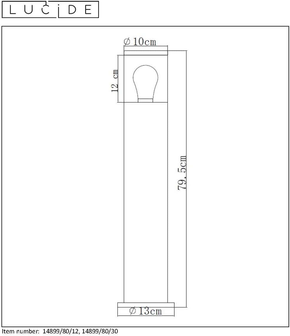 Lucide FEDOR - Pollerleuchte Außen - 1xE27 - IP44 - Schwarz Satin Chrome