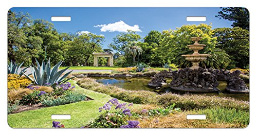 Garden License Plate by Lunarable, Fitzroy Gardens in a Summer Day Fountain Historical Iconic Tourist Attraction Place, High Gloss Aluminum Novelty Plate, 5.88 L X 11.88 W Inches, Green (His Boy Garden Fountain)