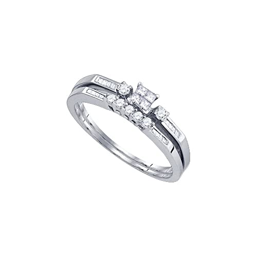 10 K oro blanco para mujer princesa diamante delgado anillo de compromiso de boda banda Set