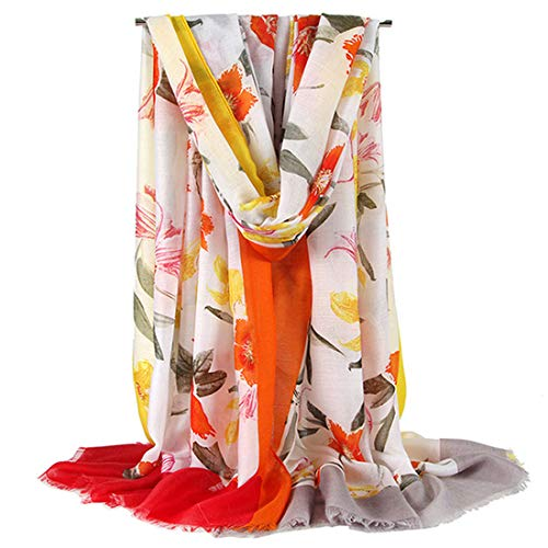 GERINLY Spring Scarfs Lily Flower Print Beach Wrap Easter Shawl For Christian (Orange)