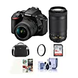 Nikon D5600 DSLR Camera Kit w/AFP DX 18-55mm f/3.5-5.6G VR & AFP DX 70-300/4.5-6.3G Lenses – Bundle With camera Case, 16GB SDHC Card, Cleaning Kit, 55mm UV Filter, Software Package,