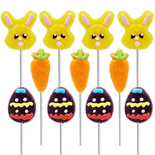 Happy Easter Lollipops Suckers, Colorful Easter Eggs, Yellow Bunny Rabbit, Orange Carrot Designs Fat-Free, Individually Wrapped Easter Pops (12-Pack)