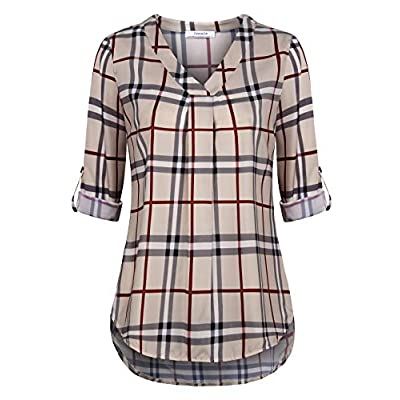 Youtalia Womens 3/4 Cuffed Sleeve Chiffon Printed V Neck Casual Blouse Shirt Tops at Women's Clothing store