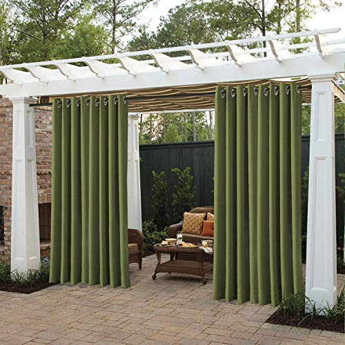 cololeaf Outdoor Curtains for Patio Waterproof 108 inches Solid Cabana Grommet Top Window Curtain Panel for Patio, Porch, Gazebo, Pergola, Dock, Beach Home - Olive 100