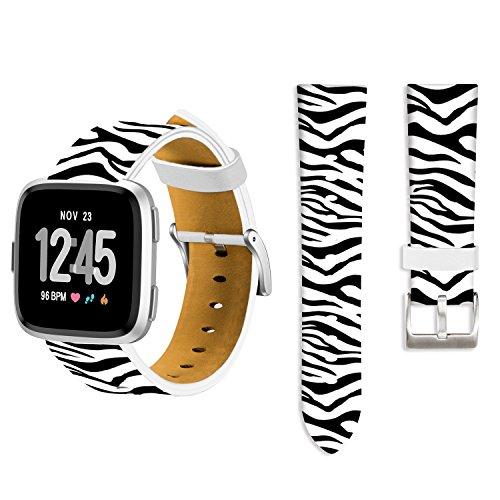 for Fitbit Versa Band Zebra,Ecute Replacement Band Fitbit Versa Leather Bands Strap for Fitbit Versa SmartWatch -Zebra