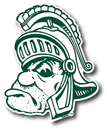 Michigan State University, Gruff Sparty X - Large: 13.75 Wide x 16.75 Tall NCAA Vintage and Popular Car Decals from Nudge Printing