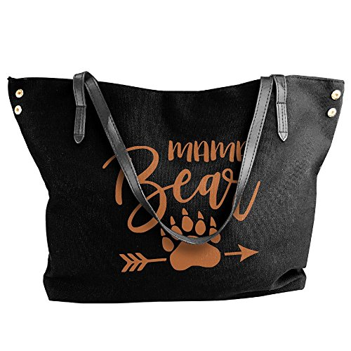 Mama Large Tote Canvas Bags Bear Black Shoulder Women's Paw Handbag Messenger R1XHqq5