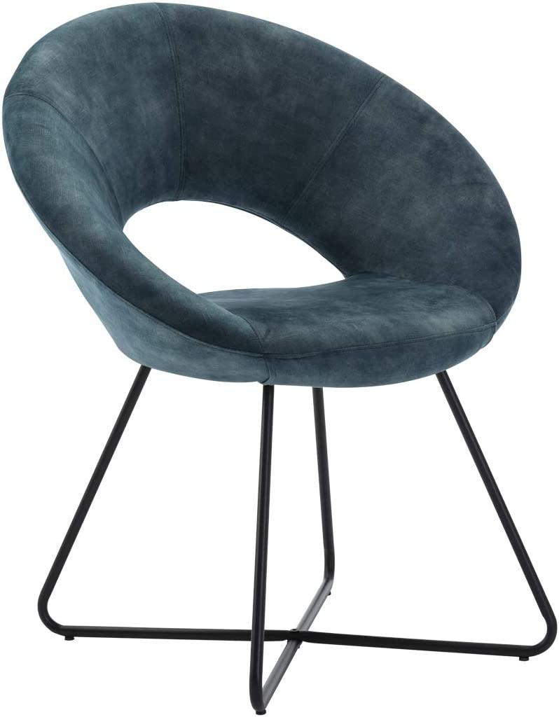 Duhome Modern Leathaire Velvet Upholstered Accent Chairs Dining Chairs Arm Chair for Living Room Furniture Mid-Century Leisure Lounge Chairs with Black Metal Legs Industrial 1 PCS Blue