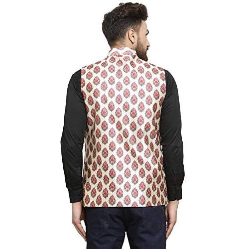 51aA4AnhaFL. SS500  - Ben Martin Men's Dupion Silk Nehru Jacket Waistcoat-(BM-WS-Printed-JAIPURI)