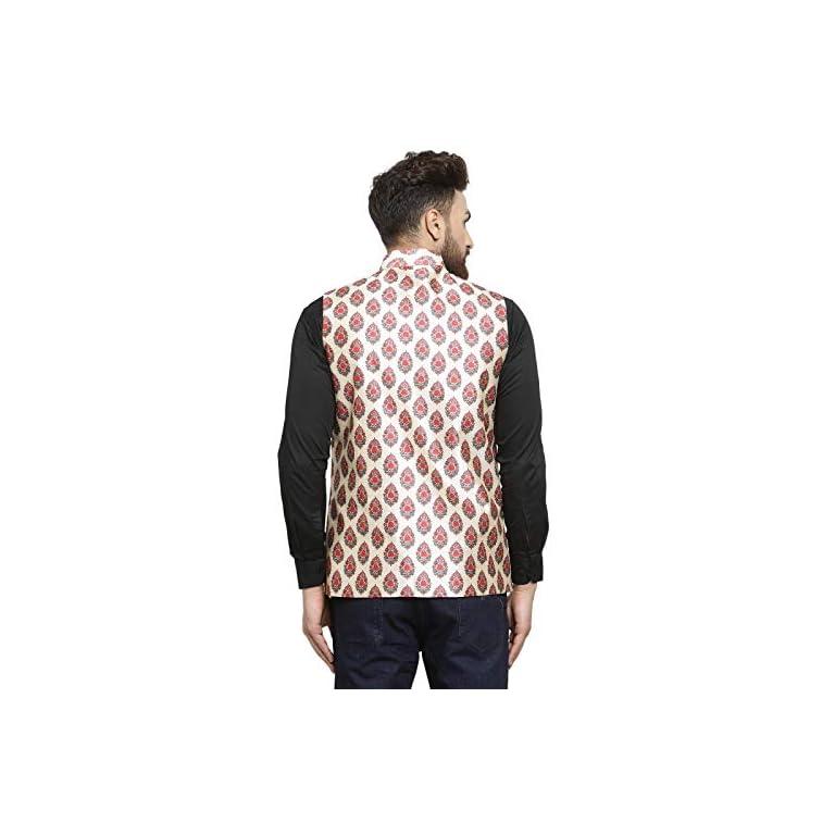 51aA4AnhaFL. SS768  - Ben Martin Men's Dupion Silk Nehru Jacket Waistcoat-(BM-WS-Printed-JAIPURI)