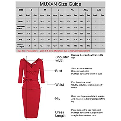 MUXXN Women's Classic Retro V Neck Half Sleeve Sheath Formal Juniors Dress: Clothing