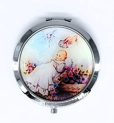 12 pcs Personalized Guardian Angel Baptism Compact Mirror Recuerdos de Bautizo party favors for Boy and Girl by Cacraftsupply