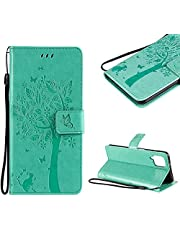 Cestor PU Leather Wallet Case for Samsung Galaxy A12 5G,Magnetic Cute Embossed Tree Cat Butterfly Pattern Strap Shockproof Stand Flip Cover with Card Holder for Samsung Galaxy A12 5G,Mint Green