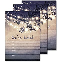 25 Outdoor Lights You're Invited Party Invitations 5x7 Card Stock with Envelopes