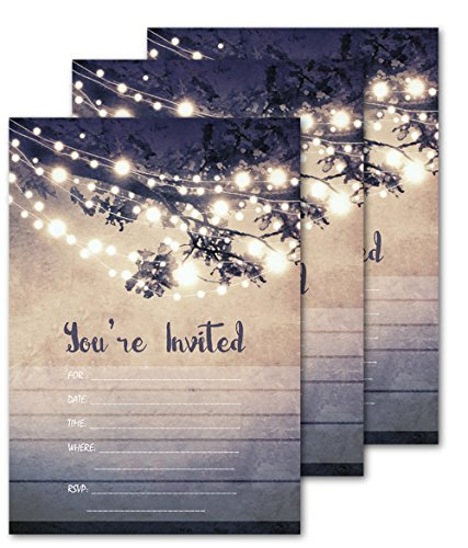 25 Outdoor Lights You're Invited Party Invitations 5×7 Card Stock with Envelopes