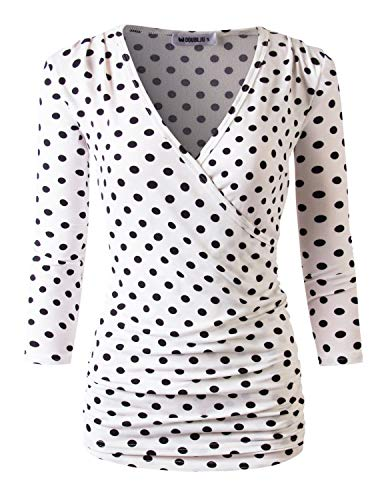 Doublju Womens Long Sleeve Crossover Side Wrap Surplice Casual Top IVORYBLACKDOT XL Plus Size