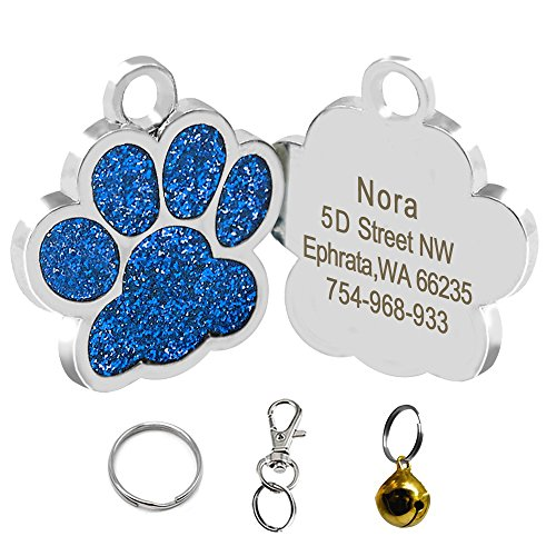 Didog Bling Bling Paw Print Pet ID Tags for Small Dogs and Cats,Personalized - Tag Dog Id Charm Pet