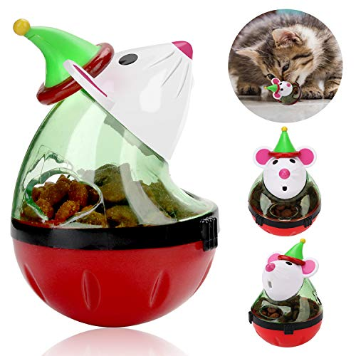 Legendog Cat Christmas Toy, Santa Claus Tumbler Mouse Cat Feeder Toy, InteractiveCatToys, CatPuzzleToy, PetToysforCats and Puppies, CatTreatDispenserToy