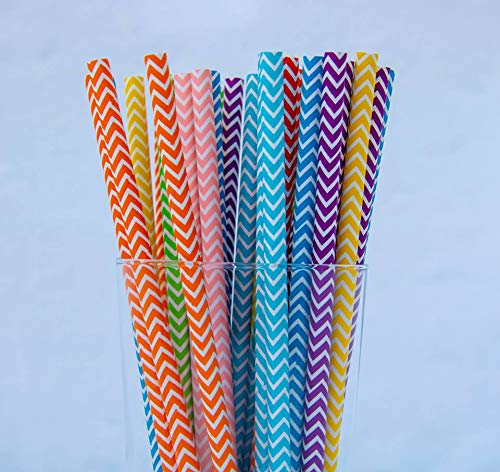 (200 Pack Biodegradable Paper Straws - 5 Different Colors Made of Soy Ink for Party Supplies, Birthday, Wedding, Bridal/Baby Shower Decorations and Holiday Celebrations)