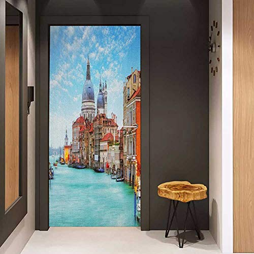 Wood Door Sticker Italy Grand Canal and Basilica Santa Maria Della Salute Historical Architecture Easy-to-Clean, Durable W36 x H79 Blue Turquoise Orange (Slam Grand Wood)