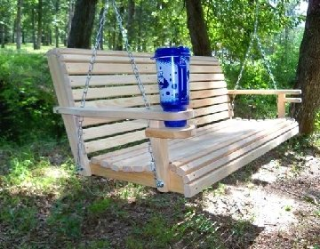 Attractive Amazon.com : 5 Ft USA Made Cypress Roll Back Porch Swing Coated With  Thompsonu0027s Water Seal And Swing Mate Comfort Springs And Cup Holder Arm And  Stainless ...