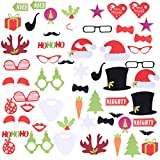 SUPVOX 55pcs Christmas Photo Props Photography Accessory Dress Up Party Supplies