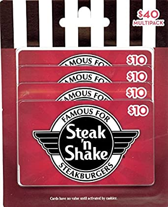 Amazon.com: Steak 'n Shake Gift Cards, Multipack of 4 - $10: Gift ...