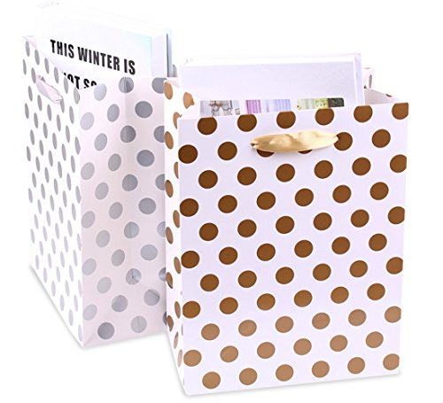 Gift Bags 8x4.75x10.5 Medium Paper Shopping Bags 12 Pack - 6 Gold and 6 Silver Gift Bags Polka Dot Perfect for Weddings, Birthday and Graduation Presents, Gift Wrap Bags by BagDream (Image #3)
