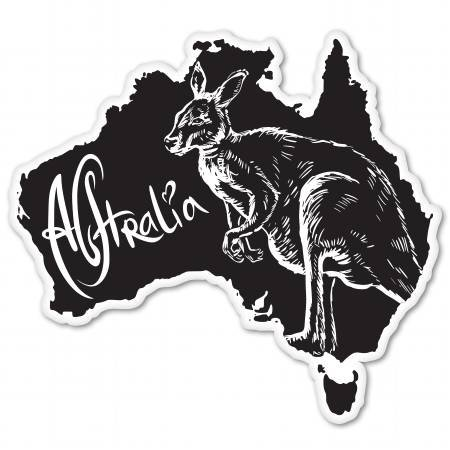 Australia Kangaroo Design Vinyl Sticker - Car Window Bumper Laptop - SELECT SIZE ()