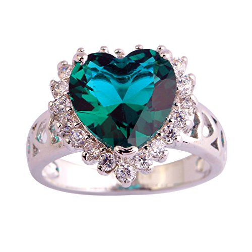 Narica Womens Brilliant Heart Shaped Green Sapphire Engagement Cocktail Ring