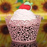 Picowe 50 Pcs Artistic Bake Cake Paper Cups Little Vine Lace Laser Cut Liner Cupcake Wrappers Baking Cup Muffin Holder Case for Wedding Birthday Party Decoration (Pink)