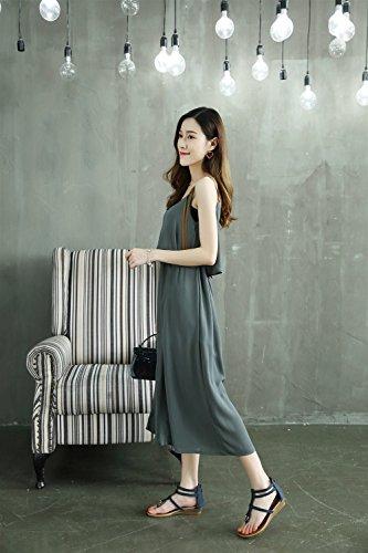 Métal Confortable Chaussures Grande XIAOQI Femmes Bleu de Taille Nouvelles Wedge 2018 en coréennes Rome Sandales KACYHROw8q