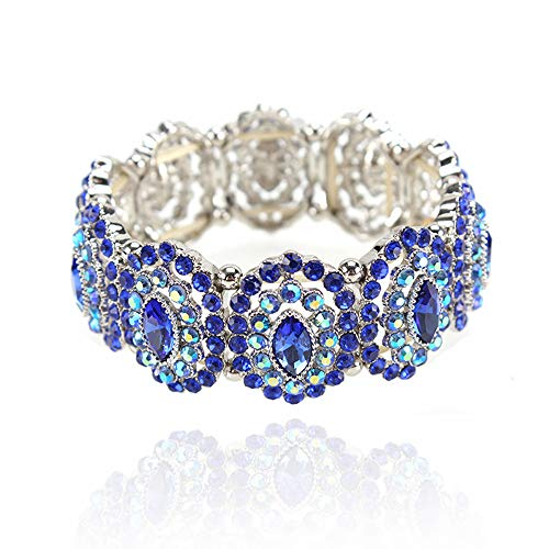 SP Sophia Collection Women's Marquise Austrian Crystal Halo Cuff Wide Bangle Stretch Rhinestone Bracelet in Blue