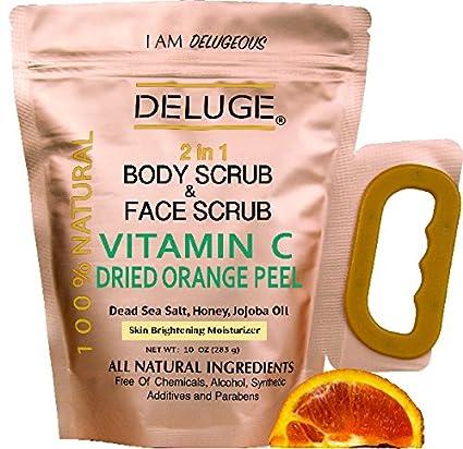 DELUGE- Vitamin C Exfoliante - Cascara de Naranja, Sal del Mar Muerto, Miel