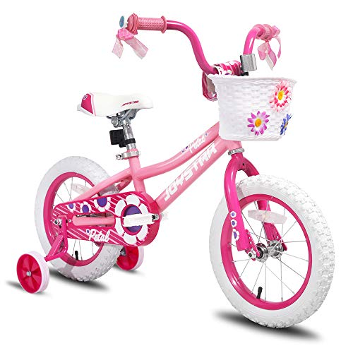 (JOYSTAR 16 inch Kids Bike for 4 5 6 Years Girls, Child Bicycle with Training Wheels & Basket & Streamer, Pink Toddler Cycle)