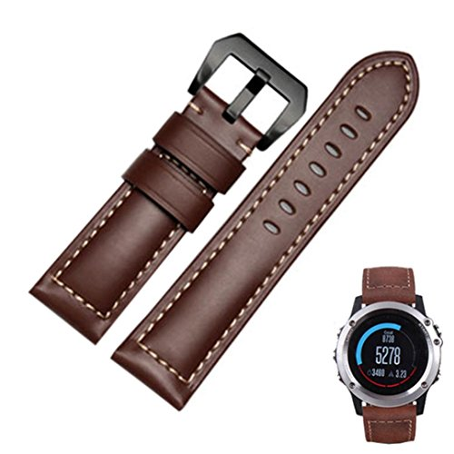 Price comparison product image Wristband ,Vanvler Genuine Leather Watch Replacement Band Strap + Lugs Adapters For Garmin Fenix 3 / HR 2017 (Brown)
