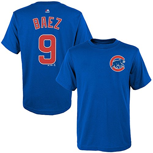 Majestic Javy Baez Chicago Cubs Youth Blue Name and Number Player T-Shirt Large 14-16 -