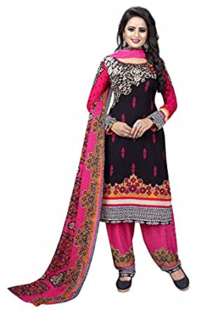 Drapes Women's Black Crepe printed Dress Material  Unstitched  Dress Material