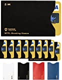 RFID Sleeves Credit Card Sleeve – Credit Card Protector Sleeves Blocks Credit Cards Transfer of Data Protecting Against Thieves Electronic Pickpocketing – Black RFID Credit Card Sleeves