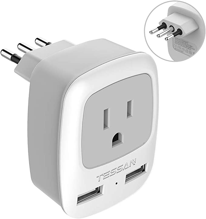 TESSAN Italy Travel Power Adapter, 3 Prong Grounded Plug with Dual USB Charging Ports, Outlet Adaptor Charger for USA to Italy Uruguay Chile Italian (Type L): Amazon.es: Electrónica