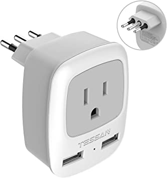 Italy Travel Power Adapter, TESSAN 3 Prong Grounded Plug with Dual USB Charging Ports, Outlet Adaptor Charger for USA to Italy Uruguay Chile Italian