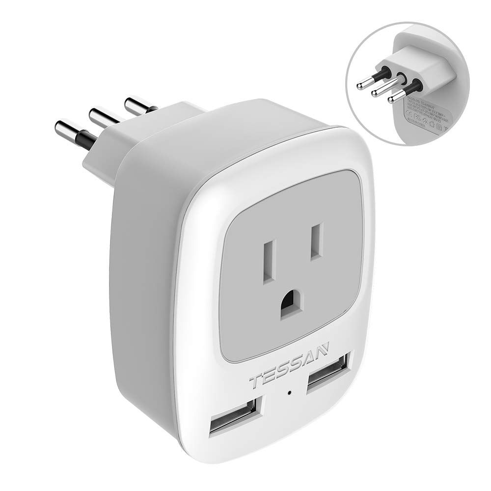 Italy Travel Power Adapter, TESSAN 3 Prong Grounded Plug with Dual USB, 3 in 1 AC Outlet Adaptor for USA to Italy Uruguay Chile (Type L)