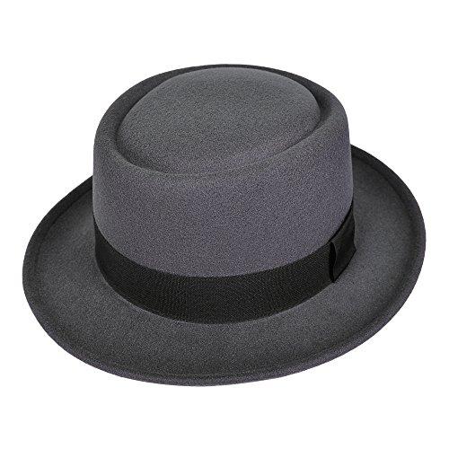 [MATCH MUCH Porkpie Hat Felt Hat Fedora Hat for Winter(Grey)] (Pork Pie Hat For Sale)