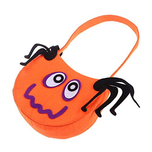 (Halloween Bag Pumpkin Trick or Treat for Kids Cookies Gifts Candy Bag Tote Handbag Sack Sweet Goodies Holder for Halloween Cosplay Costumes Decor Party Favors (Spider)