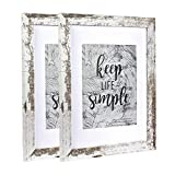 Home&Me 11x14 Picture Frame Rotten White 2 Pack - Made to Display Pictures 8x10 with Mat or 11x14 Without Mat - Wide Molding - Wall Mounting Material Included
