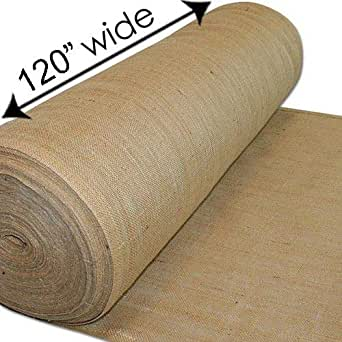 "AK TRADING CO. 120-Inch Wide Natural Burlap Fabric - Perfect for Weddings, Events, Home, Crafts, Gardening - 120"" Wide x 50 Yards"