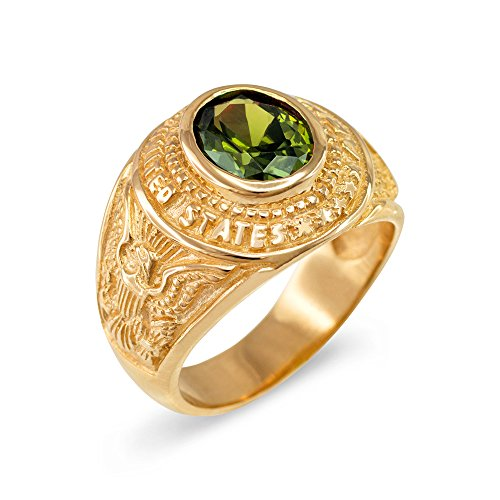 August CZ Birthstone US Army Men's Ring in Solid 10k Yellow Gold (Size - Gold 10k Ring Army