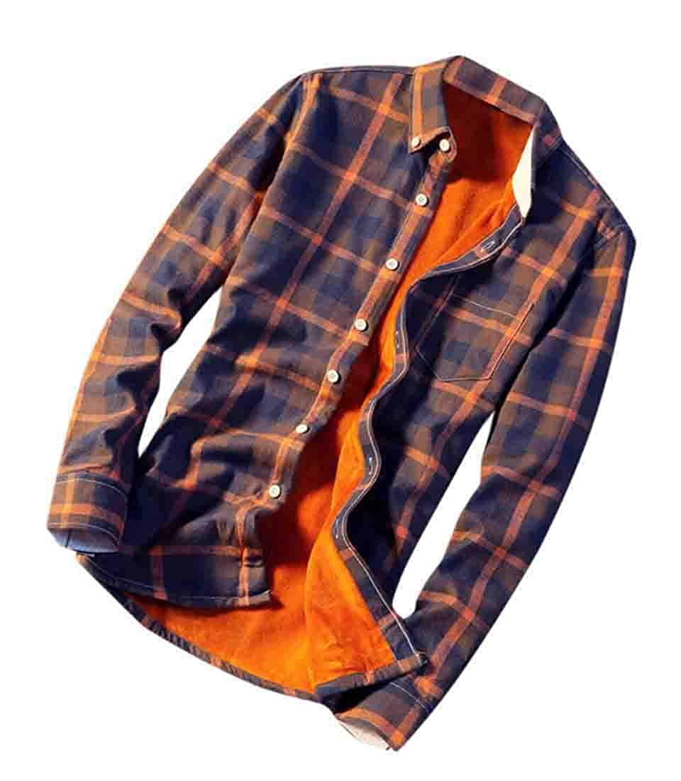 BYWX Men Fleece Lined Long Sleeve Chunky Plaid Button Shirt Blouse Tops
