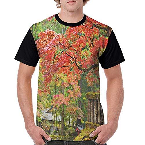 Men's Tops Blouses,Japanese,Autumn Scenery with Sakura Tree Cherry Blooms in Nikko Provinence Japan, Vermilion Green Brown S-XXL Tee Tshirts Men